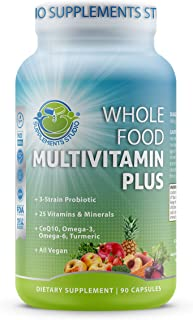 Best Whole Food Multivitamin Plus - Vegan - Daily Multivitamin for Men and Women with Organic Fruits and Vegetables, B-Complex, Probiotics, Enzymes, CoQ10, Omegas, Turmeric, All Natural, 90 Capsules Review