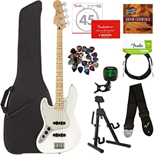Fender Player Jazz Bass, Maple, Left Handed - Polar White Bundle with Gig Bag, Stand, Cable, Tuner, Strap, Strings, Picks, Fender Play Online Lessons, and Austin Bazaar Instructional DVD