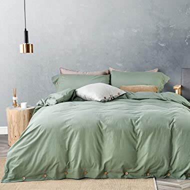 JELLYMONI Green 100% Washed Cotton Duvet Cover Set, 3 Pieces Luxury Soft Bedding Set with Buttons Closure. Solid Color Pattern Duvet Cover King Size(No Comforter)