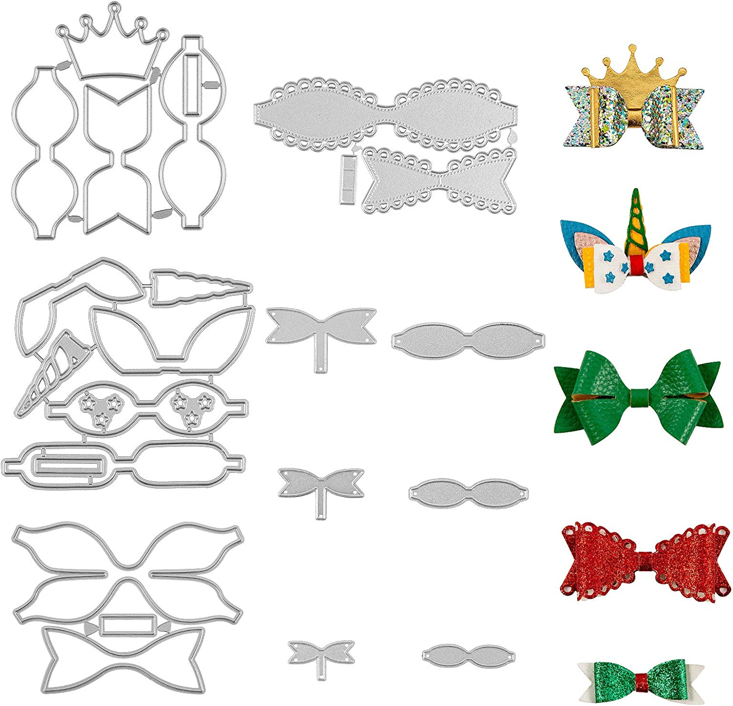 Amazon Com 7 Set Bow Cutting Dies Unicorn Bow Die Cuts Crown Bow Templates For Making Hair Bows Scrapbooking Diy Crafts