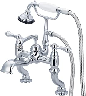 Water Creation F6-0004-01-AL Vintage Classic Adjustable Center Deck Mount Tub Faucet with Handheld Shower, Hand Polished, Richly Triple Plated Chrome Finish
