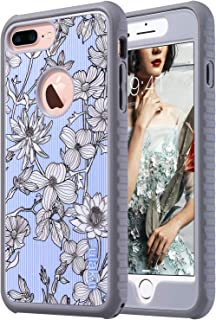ULAK Protective Case for iPhone 7 Plus,Slim Shockproof Flexible TPU Bumper Durable Anti-Slip Lightweight Front and Back Hard Safe Grip Cover for iPhone 7 Plus 5.5 inch (Pinstripes Flowers)