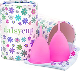 DaisyCup Menstrual Cup - 12-Hour Wear - Soft & Comfortable Medical Grade Silicone for Vaginal Health - Eco-Friendly Period Cups Reusable Up to 10 Years (Combo Pack, 2 Pink)