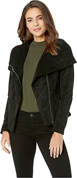 Black Faux Suede Jacket with Zipper Detail in X-Factor