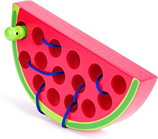 Wooden Lacing Watermelon Threading Toy Wood Block Puzzle Travel Game Fine Motor Skills Montessori Activity Learning Early Development Educational Gift for 1 2 3 Years Old Toddlers Baby Kids