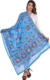 Craft Trade Embroidered Cotton Dupatta Ethnic Fashion Scarves Mirror Aari Work Chunni Wrap Stole for Womens/Girls