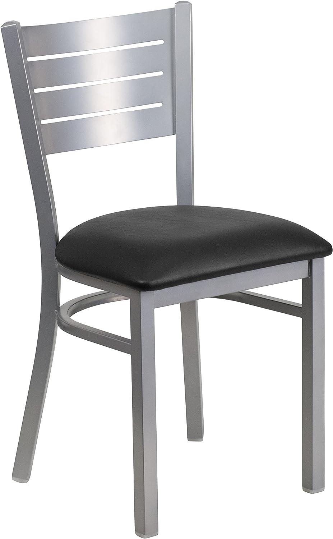 Flash Furniture Hercules Series Slat Back Metal Vinyl Seat Restaurant Chair, Size, Black Silver