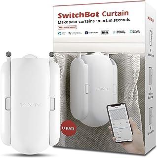 SwitchBot カーテン 自動 開閉 スイッチボット スマートホーム アレクサ - Google Home IFTTT イフト Siri LINE Clovaに対応 遠隔操作 取付簡単 ソーラーパネルで充電可能 U型/角型レールに対応 8K...
