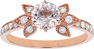 14K Rose Gold Flower Morganite & Diamond Vintage Engagement Ring (1/4 ctw, H-I, I1)