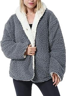 Tirrinia Blanket Jacket Hoodie for Women, Super Soft Comfy Plush Reversible Sherpa Casual Jackets Grey