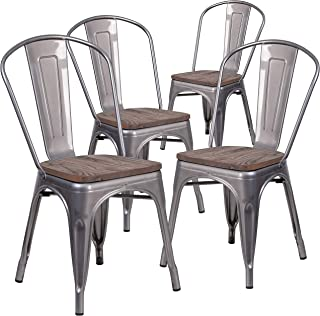 Flash Furniture 4 Pack Clear Coated Metal Stackable Chair with Wood Seat