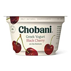 Chobani Non-Fat Greek Yogurt, Black Cherry on the Bottom, 5.3 Ounce