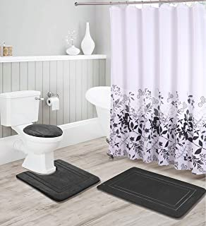 Kids Zone Home Linen Bathroom Collection Black 16pc Bathroom Accessory Set - Non-Slip Bath Mat, Non-Slip Contour Mat, Toilet Lid Cover and Waterproof Shower Curtain with Rustproof Metal Roller Hooks