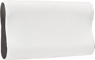 Amazon Basics - Almohada con soporte para cuello de espuma con memoria, de contorno, ajustable en altura, 60 x 35 x 11/7/11 cm