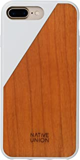 Native Union CLIC Wooden Case - Handcrafted Real Cherry Wood Drop-Proof Slim Cover with Screen Bumper Protection for iPhone 7 Plus, iPhone 8 Plus (White)