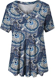 Women's Plus Size Tops Short Sleeve Blouses Flowy Summer...