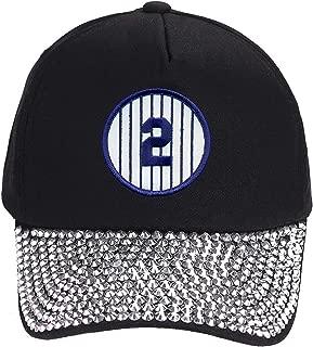 Derek Jeter #2 Hat - NY Baseball Adjustable Womens Cap (Black Rhinestone)
