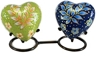eSplanade Heart Shaped Pet Cremation urn - Pair of 2 with Stand - Memorial Container Jar Pot   Metal Urns   Burial Urns   ...