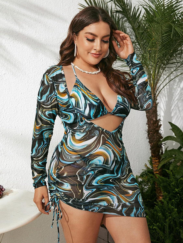 Romwe Women's Plus Size Bikini Set Mesh Drawstring Halter 3 Pieces Swimsuit Bathing Suits