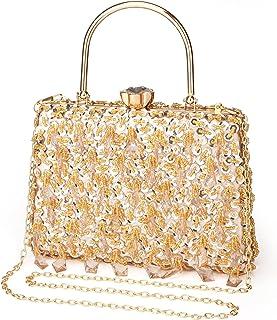 UBORSE Abendtasche Damen Diamant Clutch Bag Kette Shiny Strass Handtasche Umhängetasche für Hochzeit Party - Gold