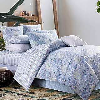 Duvet Cover Set 3Pcs Paisley Bedding Design 800 Thread Count 100% Cotton,Queen Size,Blue