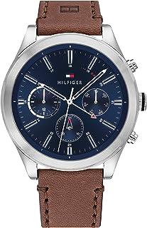 Tommy Hilfiger Men'S Blue Dial Dark Brown Leather Watch - 1791741