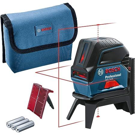 Bosch Professional GCL 2-15 Livella Laser Multifunzione, Punti A Piombo, Raggio D'Azione 15 m, 3 Pile AA, in Una Scatola,1.5 V, Supporto Ruotabile RM1, Pannello di Mira, Rosso, d'Azione