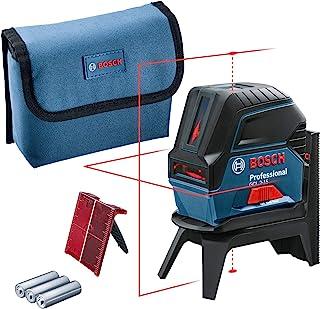 Bosch Professional korslinjelaser GCL 2-15 (röd laser, med lodpunkter, arbetsområde: 15 m, 3 x AA-batterier, roterande fäs...