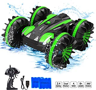 Yuboa Waterproof RC Cars 4WD Remote Control Car Boat,2.4Ghz 360 Degree Spins and Flip Water Land Car Vehicle,Double Sided Stunt Waterproof RC Truck Toy for Boys Kids Green