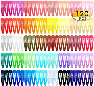 Luxerlife 120 pack 2 Inch Hair Clips 40 Assorted Colors Snap Hair Clips Hair Barrettes Snap Barrettes for Girls Kids Women