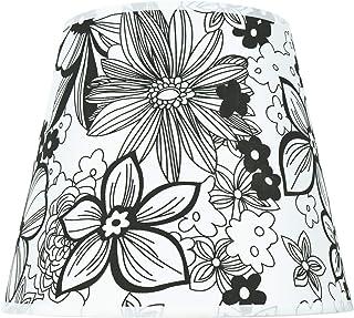 Dulee - Pantalla para lámpara de mesa (9,5 pulgadas, 16 x 20 x 24 cm), diseño de flor negra
