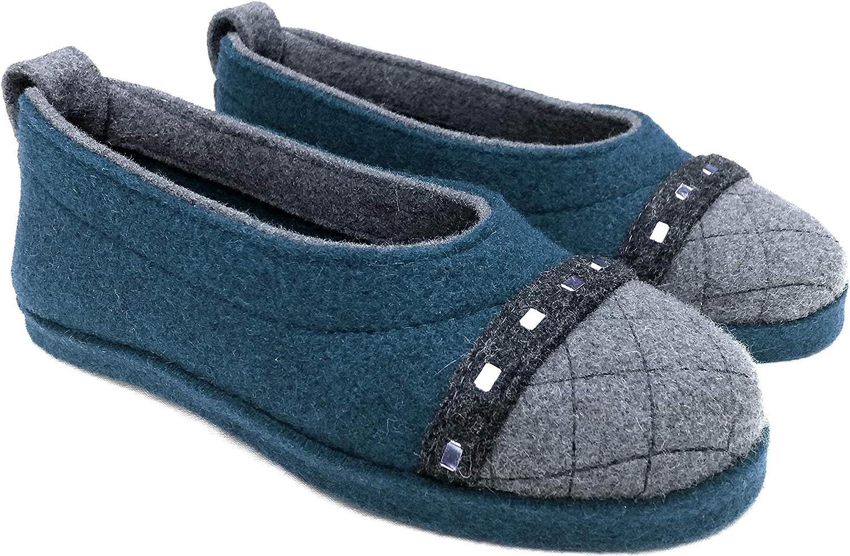 Wool Felt Warm Flat Ballet Slippers AFFORI Brown
