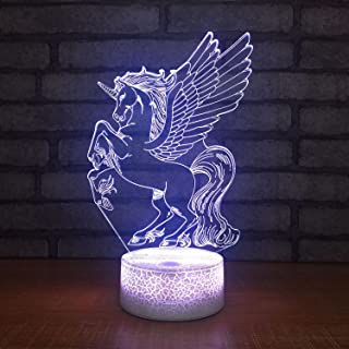 Yaeer 3D LED Glow Light Decorative Unicorn Night Light Touch Sensor Multi-Color Optical Perfect for Home Party Festival Dc...
