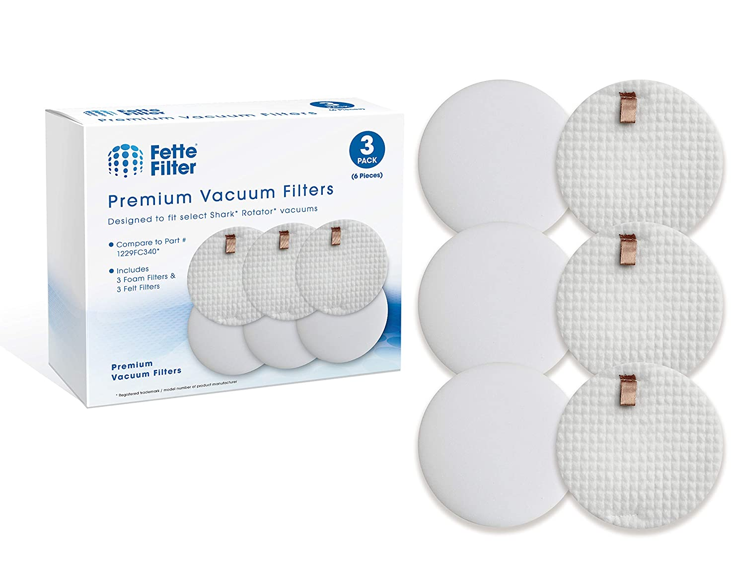 Fette Filter - Vacuum Filter Compatible with Shark Rotator Slim-Light Lift-Away NV341 & NV341Q. Compare to Part # 1229FC340 (3 Foam & 3 Felt Filters) noyddpyxdqlsl0