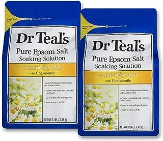 Dr. Teals Epsom Salt Soaking Solution, Chamomile, TWO 48OZ Bags, 6LB Total