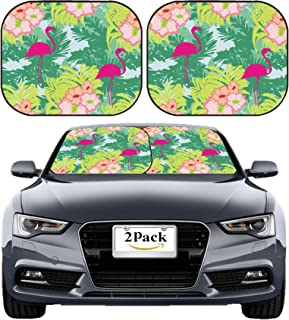 MSD Car Sun Shade Windshield Sunshade Universal Fit 2 Pack, Block Sun Glare, UV and Heat, Protect Car Interior, Image ID: 28873200 Seamless Flamingo Bird Pattern