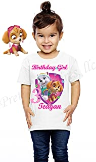 Girl Paw Patrol Birthday Shirt, Add Any Name and Any Age, Skye and Everest Birthday Shirt, Birthday Shirt Party Favor, Skye, Everest, Visit Our Shop