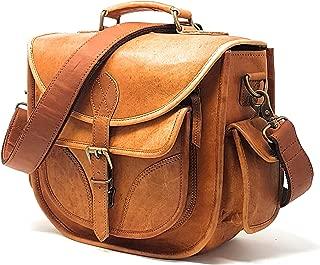 Leather Camera Bag, Travel Vintage Crossbody Shoulder Handbag with Removable Insert, Fits Standard Size DSLR with Lens, Brown