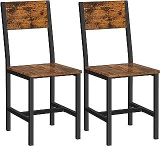 VASAGLE Chaise de Salle à Manger, Lot de 2, Sièges, Cadre en Acier, Style Industriel, pour Salle à Manger, Salon, Cuisine,...