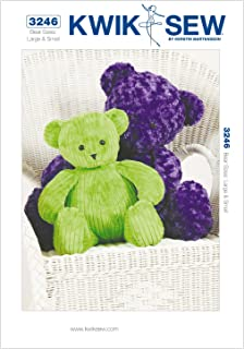 KWIK-SEW PATTERNS K3246OSZ Teddy Bears Sewing Pattern, Size Large and Small (2-Pack)