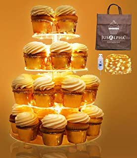 Jusalpha 4 Tier Round Cupcake Stand – Premium Cupcake Holder – Acrylic Cupcake Tower – Ideal for Weddings Birthday Parties, Candy Bar Decor 4RF (LED Light option: USB)