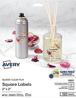 ملصقات مربعة فارغة قابلة للطباعة من Avery ، 5.08 سم × 5.08 سم، كريستال لامع شفاف، 120 ملصق قابل للتخصيص (22853)