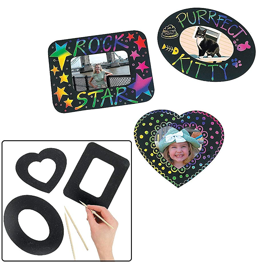 Fun Express Magic Color Scratch Photo Frame Magnets (1 dz)