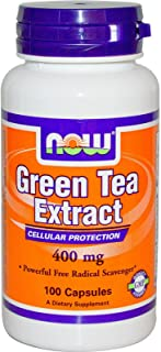 NOW Foods Green Tea Extract 400 mg, 100 Gelatin Capsules (Pack of 12)