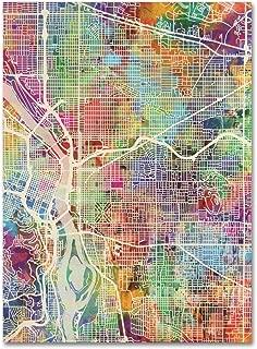 Portland Oregon Street Map by Michael Tompsett, 24x32-Inch Canvas Wall Art