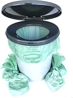 Portable Toilet Bags - Compostable Portable Toilet Liner Bags Containing Liquid and Odor Absorbent Organic Media - by Dry John (Portable Bucket Toilet Not Included)