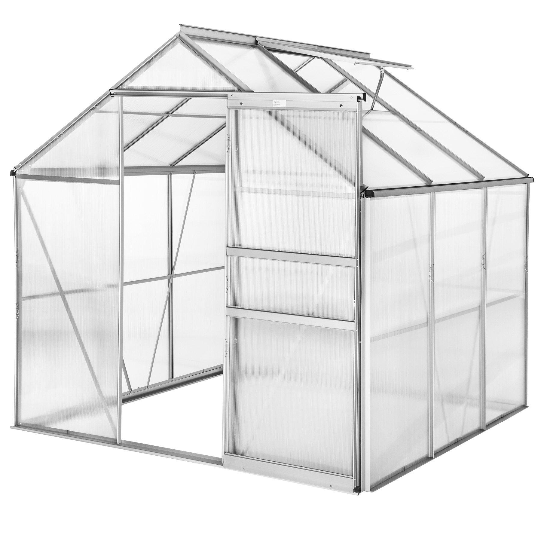 TecTake Invernadero de jardín policarbonato Transparente Aluminio casero Plantas Cultivos 5, 85m³ - Varios Modelos - (190x185x195 cm | no. 402473): Amazon.es: Jardín