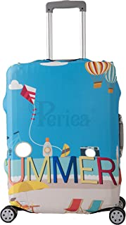 Periea Elasticated Suitcase Luggage Cover - 11 Different Designs - Small, Medium or Large (Summer, Large)