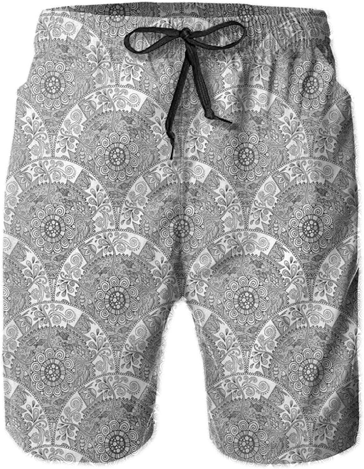 Greyscale Ethnic Sketch Mandala Design with Boat and School of Fish in The Wind Mens Swim Trucks Shorts with Mesh Lining,M