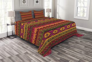 Lunarable Aztec Bedspread Set Queen Size, South American Abstract Borders Mexican Peruvian Folk Art Elements Boho Doodle, Decorative Quilted 3 Piece Coverlet Set with 2 Pillow Shams, Pink Green Orange